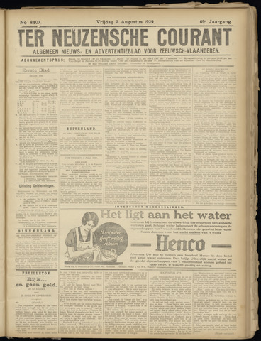 Ter Neuzensche Courant. Algemeen Nieuws- en Advertentieblad voor Zeeuwsch-Vlaanderen / Neuzensche Courant ... (idem) / (Algemeen) nieuws en advertentieblad voor Zeeuwsch-Vlaanderen 1929-08-02
