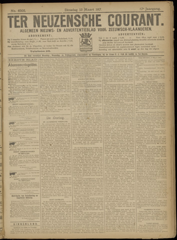 Ter Neuzensche Courant. Algemeen Nieuws- en Advertentieblad voor Zeeuwsch-Vlaanderen / Neuzensche Courant ... (idem) / (Algemeen) nieuws en advertentieblad voor Zeeuwsch-Vlaanderen 1917-03-13