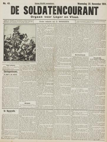 De Soldatencourant. Orgaan voor Leger en Vloot 1914-11-25
