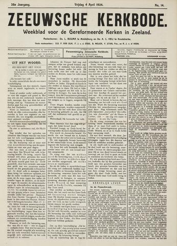 Zeeuwsche kerkbode, weekblad gewijd aan de belangen der gereformeerde kerken/ Zeeuwsch kerkblad 1924-04-04