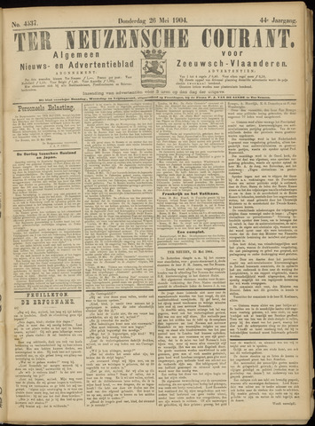 Ter Neuzensche Courant. Algemeen Nieuws- en Advertentieblad voor Zeeuwsch-Vlaanderen / Neuzensche Courant ... (idem) / (Algemeen) nieuws en advertentieblad voor Zeeuwsch-Vlaanderen 1904-05-26