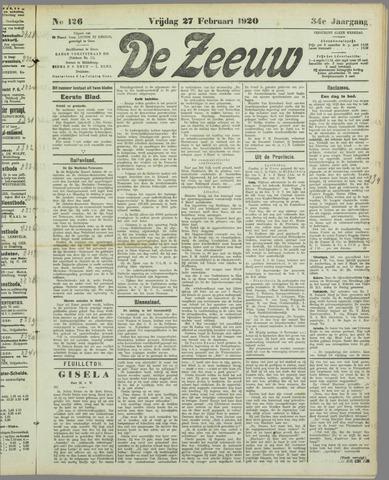 De Zeeuw. Christelijk-historisch nieuwsblad voor Zeeland 1920-02-27