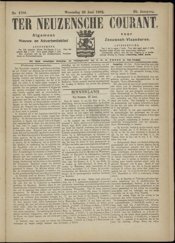 Ter Neuzensche Courant. Algemeen Nieuws- en Advertentieblad voor Zeeuwsch-Vlaanderen / Neuzensche Courant ... (idem) / (Algemeen) nieuws en advertentieblad voor Zeeuwsch-Vlaanderen 1882-06-28