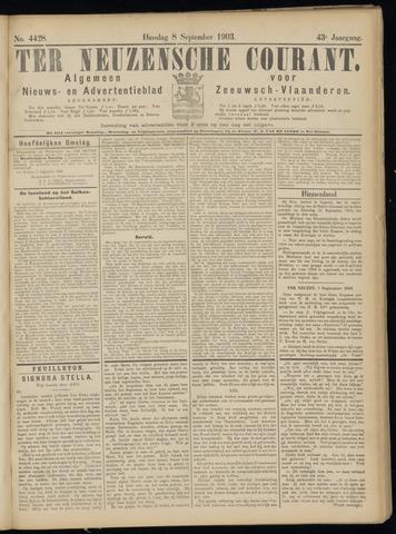 Ter Neuzensche Courant. Algemeen Nieuws- en Advertentieblad voor Zeeuwsch-Vlaanderen / Neuzensche Courant ... (idem) / (Algemeen) nieuws en advertentieblad voor Zeeuwsch-Vlaanderen 1903-09-08