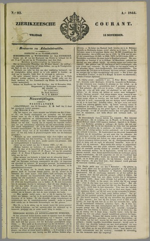Zierikzeesche Courant 1844-11-15