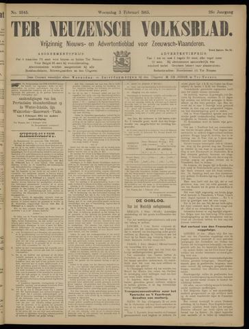 Ter Neuzensch Volksblad. Vrijzinnig nieuws- en advertentieblad voor Zeeuwsch- Vlaanderen / Zeeuwsch Nieuwsblad. Nieuws- en advertentieblad voor Zeeland 1915-02-03