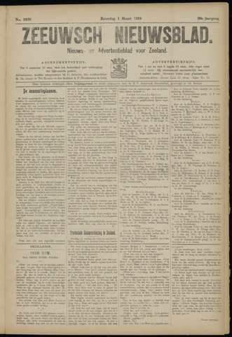 Ter Neuzensch Volksblad. Vrijzinnig nieuws- en advertentieblad voor Zeeuwsch- Vlaanderen / Zeeuwsch Nieuwsblad. Nieuws- en advertentieblad voor Zeeland 1919-03-01