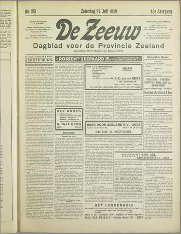 De Zeeuw. Christelijk-historisch nieuwsblad voor Zeeland 1929-07-27