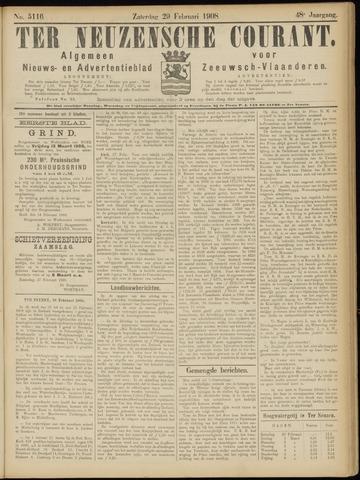 Ter Neuzensche Courant. Algemeen Nieuws- en Advertentieblad voor Zeeuwsch-Vlaanderen / Neuzensche Courant ... (idem) / (Algemeen) nieuws en advertentieblad voor Zeeuwsch-Vlaanderen 1908-02-29