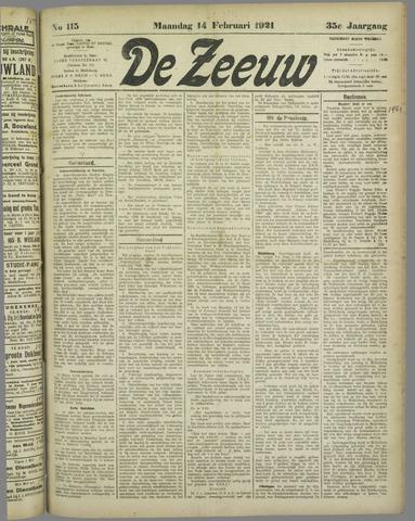 De Zeeuw. Christelijk-historisch nieuwsblad voor Zeeland 1921-02-14