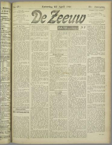 De Zeeuw. Christelijk-historisch nieuwsblad voor Zeeland 1921-04-23