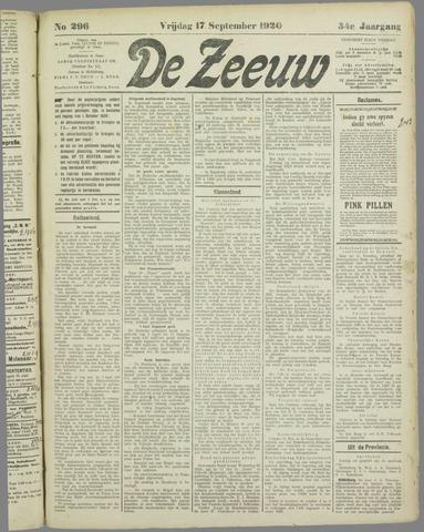 De Zeeuw. Christelijk-historisch nieuwsblad voor Zeeland 1920-09-17