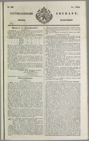 Zierikzeesche Courant 1844-09-20