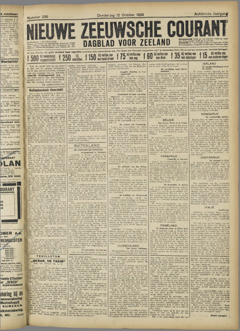 Nieuwe Zeeuwsche Courant 1922-10-12