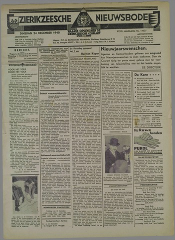 Zierikzeesche Nieuwsbode 1940-12-24