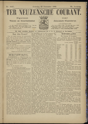 Ter Neuzensche Courant. Algemeen Nieuws- en Advertentieblad voor Zeeuwsch-Vlaanderen / Neuzensche Courant ... (idem) / (Algemeen) nieuws en advertentieblad voor Zeeuwsch-Vlaanderen 1882-12-23