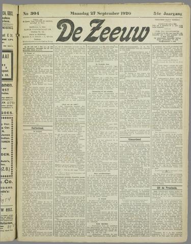 De Zeeuw. Christelijk-historisch nieuwsblad voor Zeeland 1920-09-27