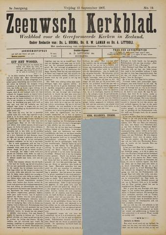 Zeeuwsche kerkbode, weekblad gewijd aan de belangen der gereformeerde kerken/ Zeeuwsch kerkblad 1907-09-13