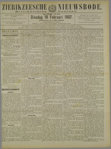 Zierikzeesche Nieuwsbode 1907-02-19