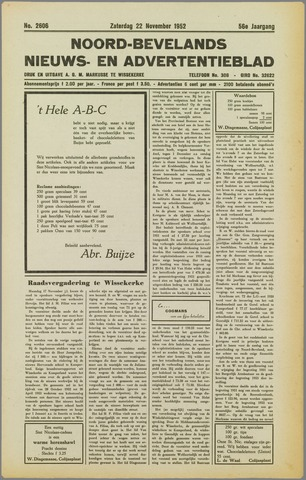 Noord-Bevelands Nieuws- en advertentieblad 1952-11-22