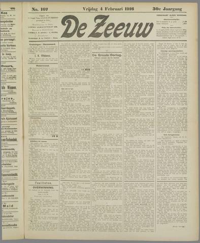 De Zeeuw. Christelijk-historisch nieuwsblad voor Zeeland 1916-02-04