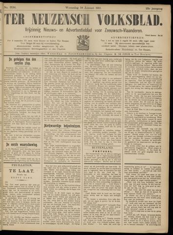 Ter Neuzensch Volksblad. Vrijzinnig nieuws- en advertentieblad voor Zeeuwsch- Vlaanderen / Zeeuwsch Nieuwsblad. Nieuws- en advertentieblad voor Zeeland 1911-01-18