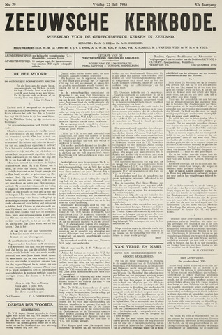 Zeeuwsche kerkbode, weekblad gewijd aan de belangen der gereformeerde kerken/ Zeeuwsch kerkblad 1938-07-22