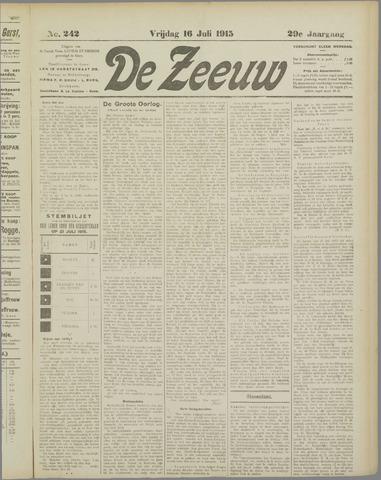 De Zeeuw. Christelijk-historisch nieuwsblad voor Zeeland 1915-07-16