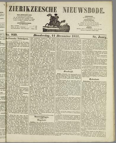 Zierikzeesche Nieuwsbode 1851-12-11