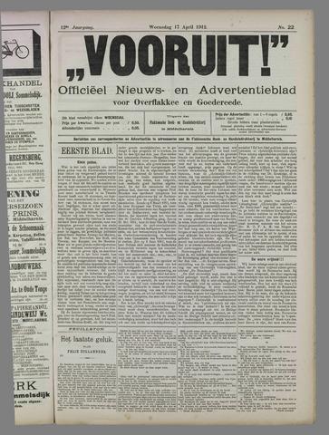 """""""Vooruit!""""Officieel Nieuws- en Advertentieblad voor Overflakkee en Goedereede 1912-04-17"""