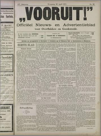 """""""Vooruit!""""Officieel Nieuws- en Advertentieblad voor Overflakkee en Goedereede 1911-04-26"""