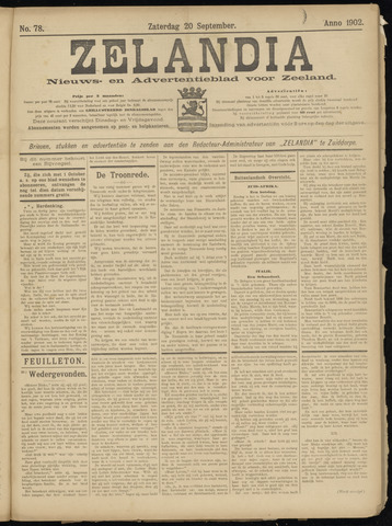 Zelandia. Nieuws-en advertentieblad voor Zeeland | edities: Het Land van Hulst en De Vier Ambachten 1902-09-20