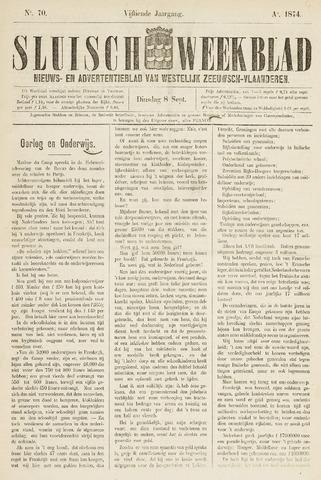 Sluisch Weekblad. Nieuws- en advertentieblad voor Westelijk Zeeuwsch-Vlaanderen 1874-09-08
