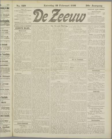 De Zeeuw. Christelijk-historisch nieuwsblad voor Zeeland 1916-02-19