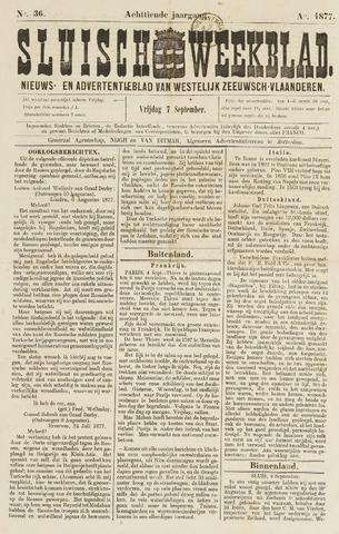 Sluisch Weekblad. Nieuws- en advertentieblad voor Westelijk Zeeuwsch-Vlaanderen 1877-09-07