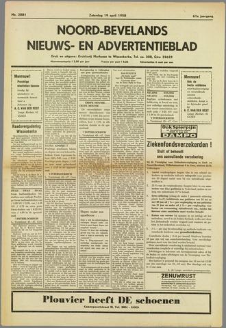 Noord-Bevelands Nieuws- en advertentieblad 1958-04-19