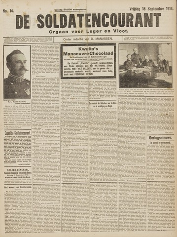 De Soldatencourant. Orgaan voor Leger en Vloot 1914-09-18