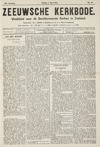 Zeeuwsche kerkbode, weekblad gewijd aan de belangen der gereformeerde kerken/ Zeeuwsch kerkblad 1925-04-03