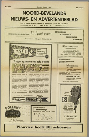 Noord-Bevelands Nieuws- en advertentieblad 1959-04-04