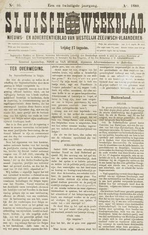Sluisch Weekblad. Nieuws- en advertentieblad voor Westelijk Zeeuwsch-Vlaanderen 1880-08-27