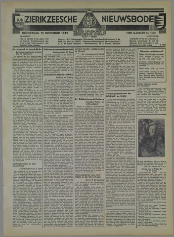 Zierikzeesche Nieuwsbode 1942-11-19