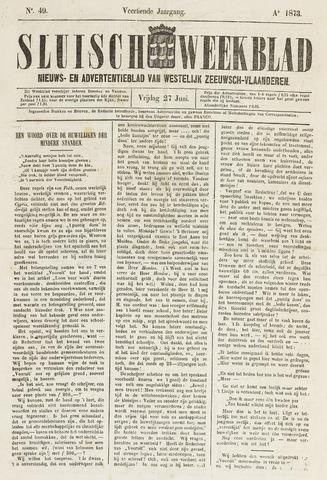Sluisch Weekblad. Nieuws- en advertentieblad voor Westelijk Zeeuwsch-Vlaanderen 1873-06-27