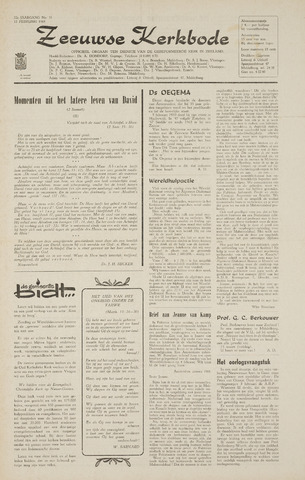 Zeeuwsche kerkbode, weekblad gewijd aan de belangen der gereformeerde kerken/ Zeeuwsch kerkblad 1968-02-15