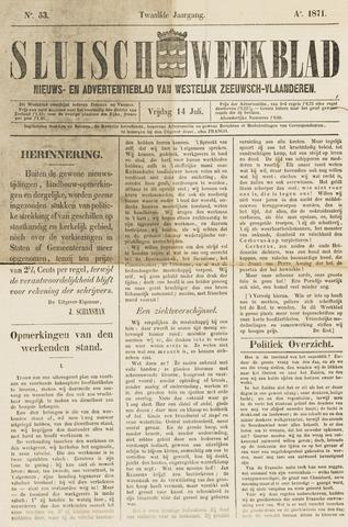 Sluisch Weekblad. Nieuws- en advertentieblad voor Westelijk Zeeuwsch-Vlaanderen 1871-07-14