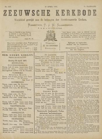 Zeeuwsche kerkbode, weekblad gewijd aan de belangen der gereformeerde kerken/ Zeeuwsch kerkblad 1891-04-25