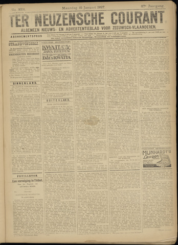 Ter Neuzensche Courant. Algemeen Nieuws- en Advertentieblad voor Zeeuwsch-Vlaanderen / Neuzensche Courant ... (idem) / (Algemeen) nieuws en advertentieblad voor Zeeuwsch-Vlaanderen 1927-01-10