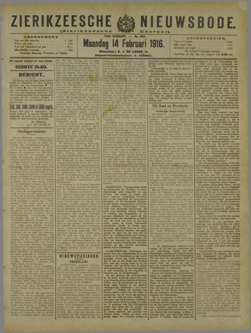 Zierikzeesche Nieuwsbode 1916-02-14