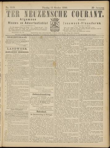 Ter Neuzensche Courant. Algemeen Nieuws- en Advertentieblad voor Zeeuwsch-Vlaanderen / Neuzensche Courant ... (idem) / (Algemeen) nieuws en advertentieblad voor Zeeuwsch-Vlaanderen 1910-10-11