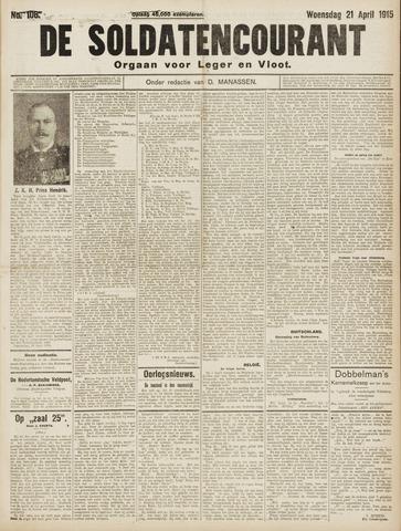De Soldatencourant. Orgaan voor Leger en Vloot 1915-04-21