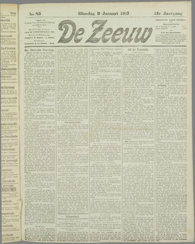 De Zeeuw. Christelijk-historisch nieuwsblad voor Zeeland 1917-01-09